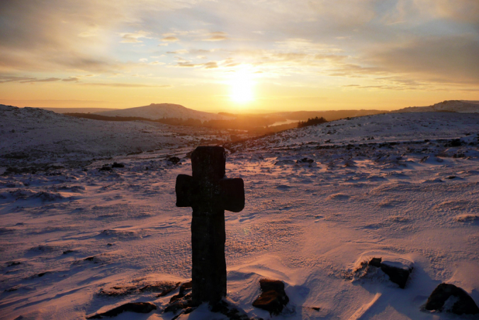 Newleycombe Cross in the Snow